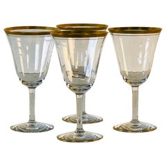 1950s Double Gold Rim Wine Stems, Set of 4