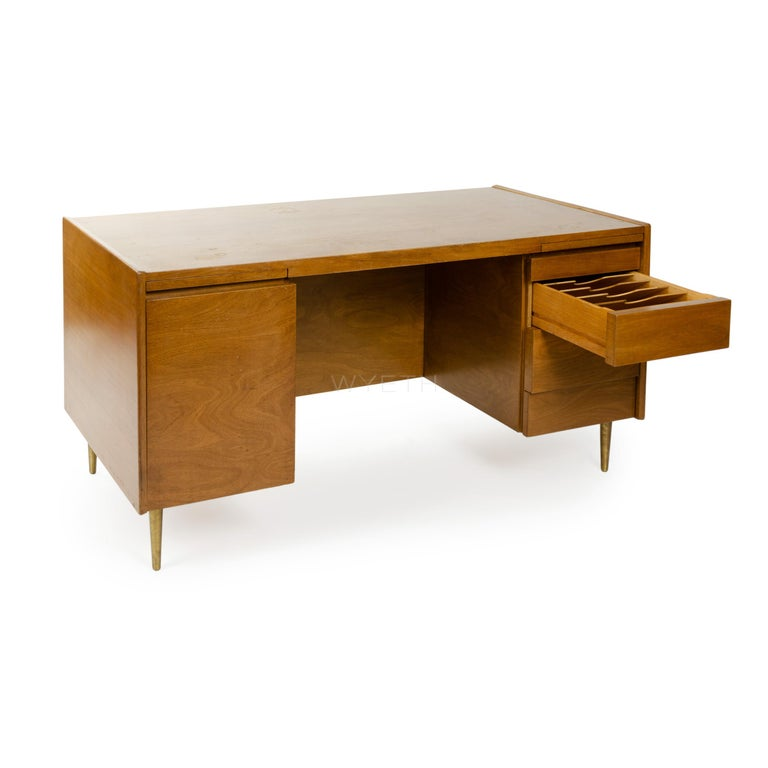 American 1950s Double Pedestal Desk by Edward Wormley for Dunbar For Sale