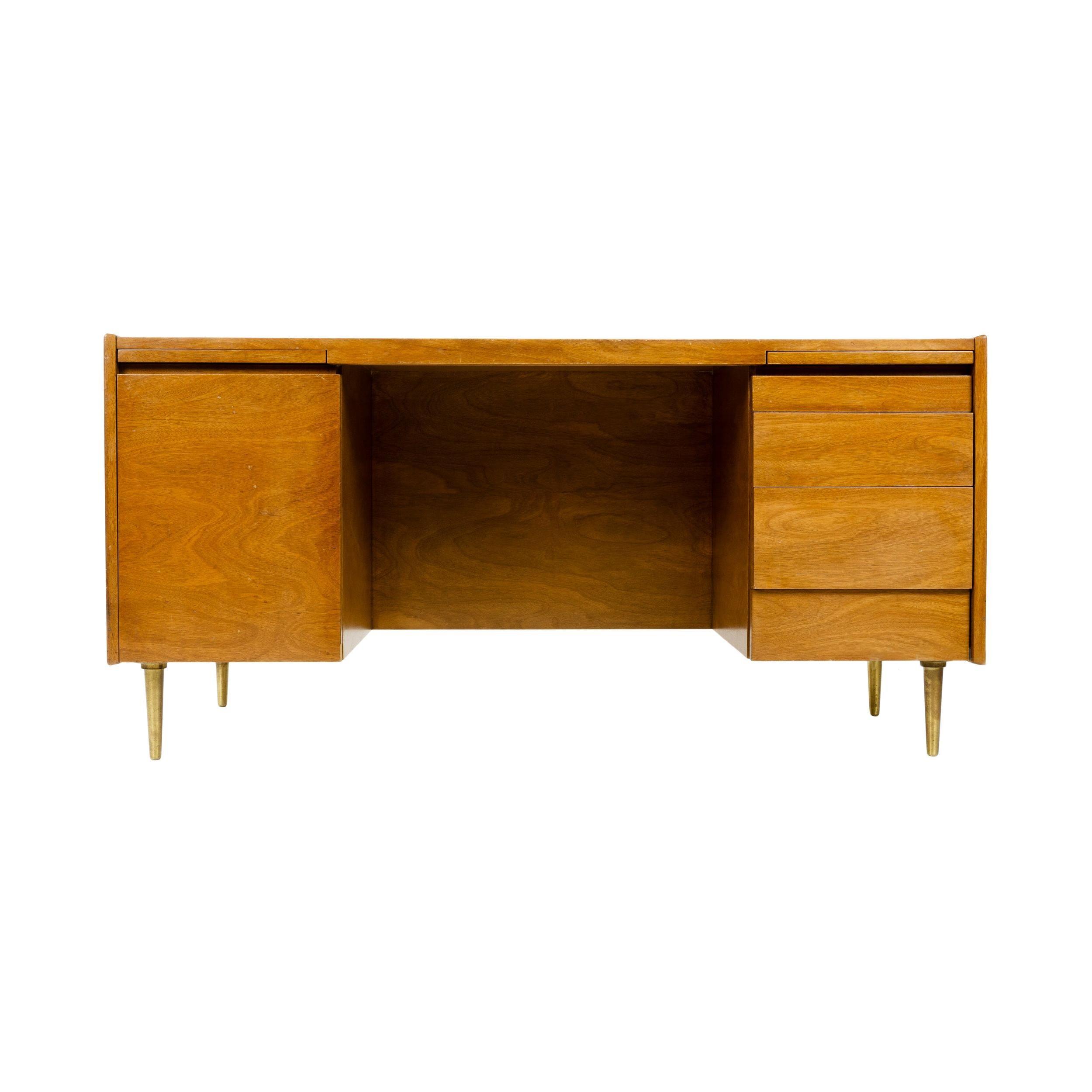 1950s Double Pedestal Desk by Edward Wormley for Dunbar