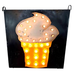 1950s Double Sided Light Up Ice Cream Sign