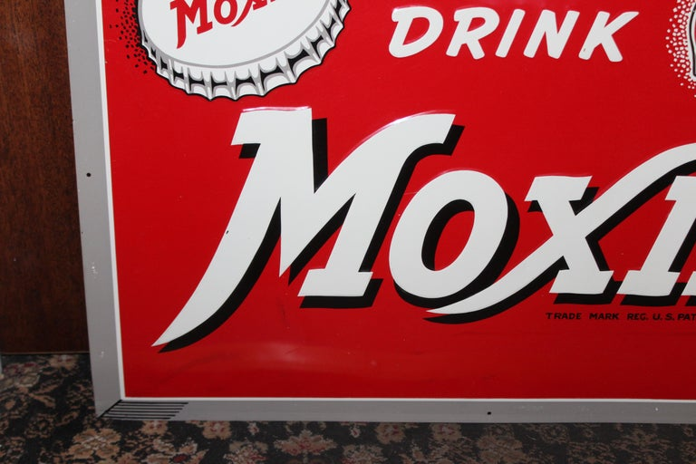 American 1950s Drink Moxie Soda Tin Advertising Sign For Sale