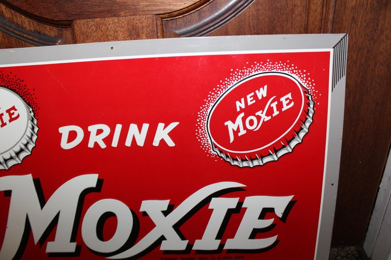 1950s Drink Moxie Soda Tin Advertising Sign In Good Condition For Sale In Orange, CA