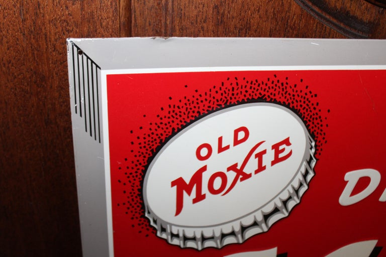 1950s Drink Moxie Soda Tin Advertising Sign For Sale 2