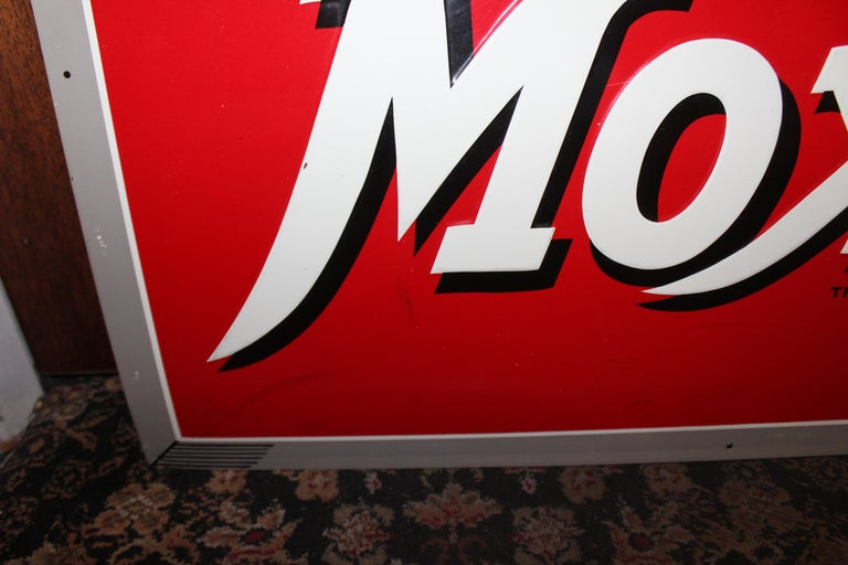 1950s Drink Moxie Soda Tin Advertising Sign For Sale 4