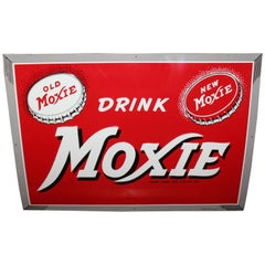 1950s Drink Moxie Soda Tin Advertising Sign