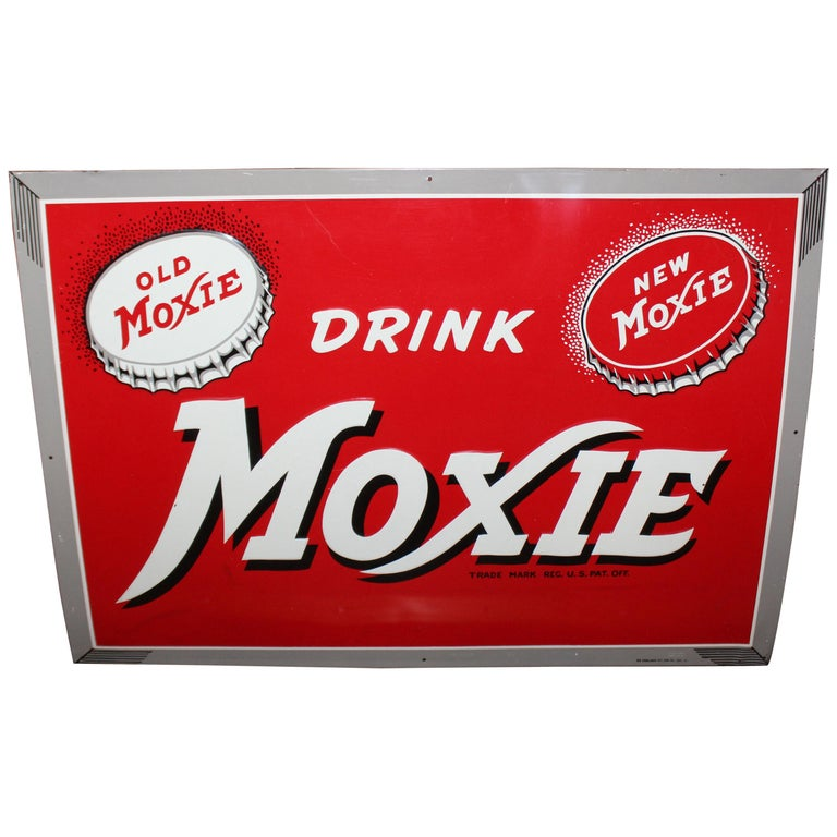 1950s Drink Moxie Soda Tin Advertising Sign For Sale