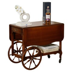 1950s Drop Leaf Bar Cart with Large Wheel by Forslund Brothers Co
