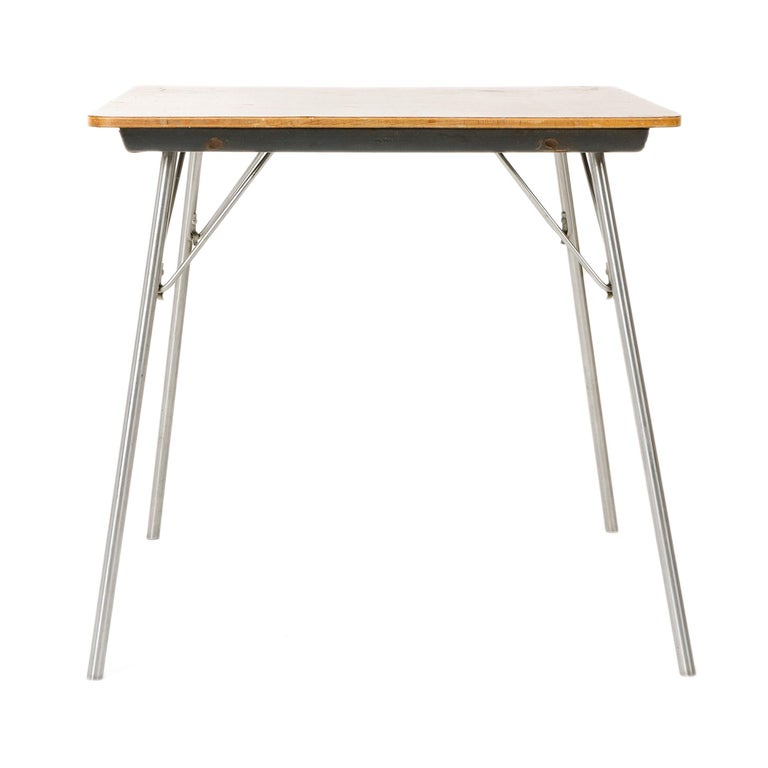 Plated 1950s DTM-50 Folding Table by Charles & Ray Eames for Herman Miller For Sale