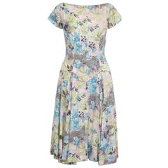 1950s Du-Rite Floral Cotton Dress With Dropped Waist