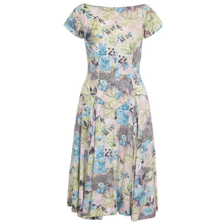 1950s Du-Rite Floral Cotton Dress With Dropped Waist  For Sale