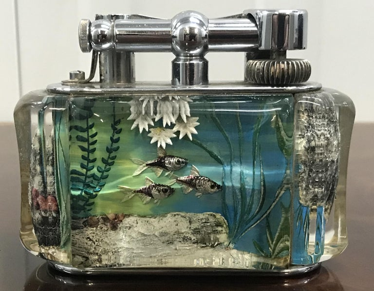 1950s Dunhill Aquarium Oversized Table Lighter Made in England Chrome Lots Fish For Sale 5
