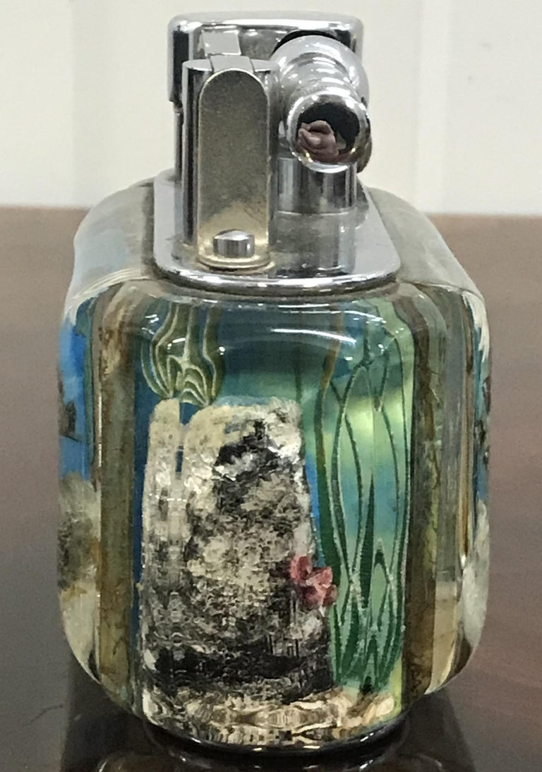 1950s Dunhill Aquarium Oversized Table Lighter Made in England Chrome Lots Fish For Sale 8