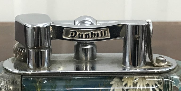 1950s Dunhill Aquarium Oversized Table Lighter Made in England Chrome Lots Fish For Sale 9