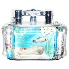 1950s Dunhill Aquarium Oversized Table Lighter Made in England Chrome Lots Fish