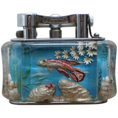 1950s Dunhill Aquarium Oversized Table Lighter Made in England Chrome Red Fish