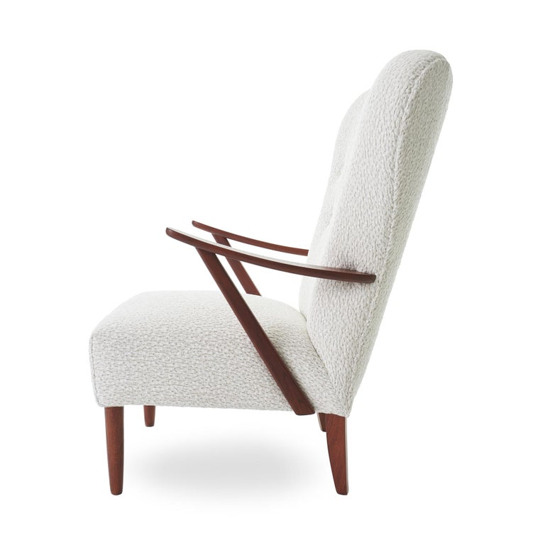 Mid-Century Modern 1950s DUX Walnut High Back Lounge Chair For Sale