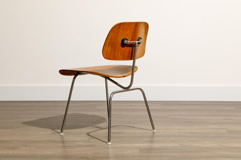 1950s Early Production 'DCM' Chairs by Charles Eames for Herman Miller, Signed  For Sale 8