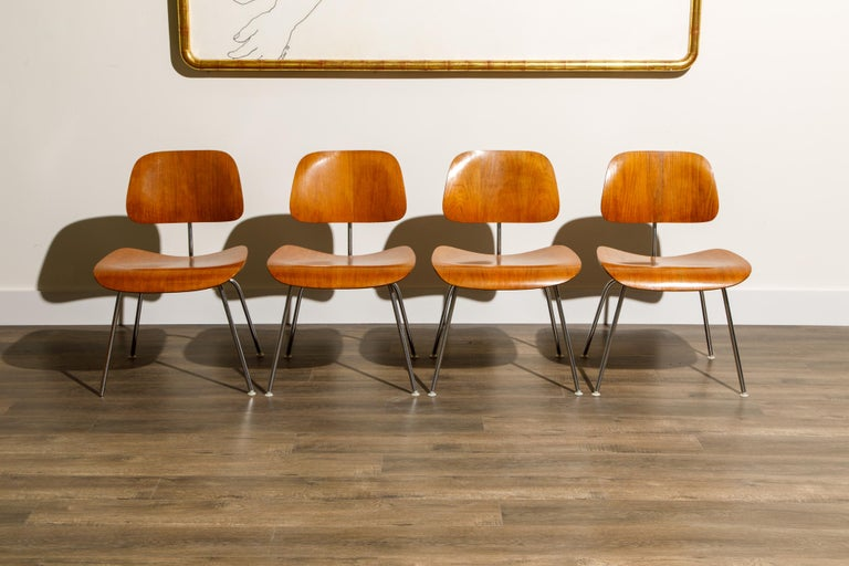 Mid-Century Modern 1950s Early Production 'DCM' Chairs by Charles Eames for Herman Miller, Signed  For Sale
