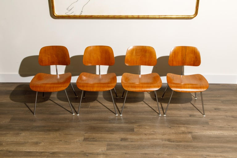 American 1950s Early Production 'DCM' Chairs by Charles Eames for Herman Miller, Signed  For Sale
