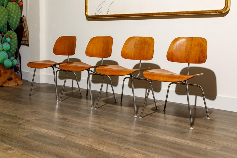 1950s Early Production 'DCM' Chairs by Charles Eames for Herman Miller, Signed  In Good Condition For Sale In Los Angeles, CA