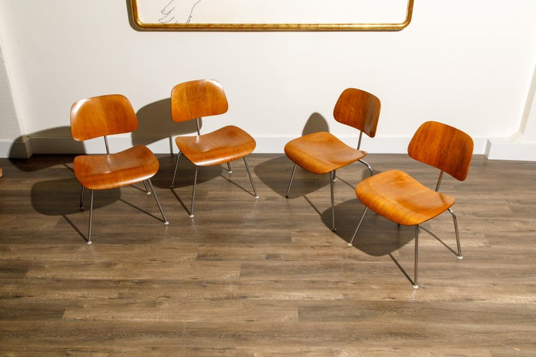 Mid-20th Century 1950s Early Production 'DCM' Chairs by Charles Eames for Herman Miller, Signed  For Sale
