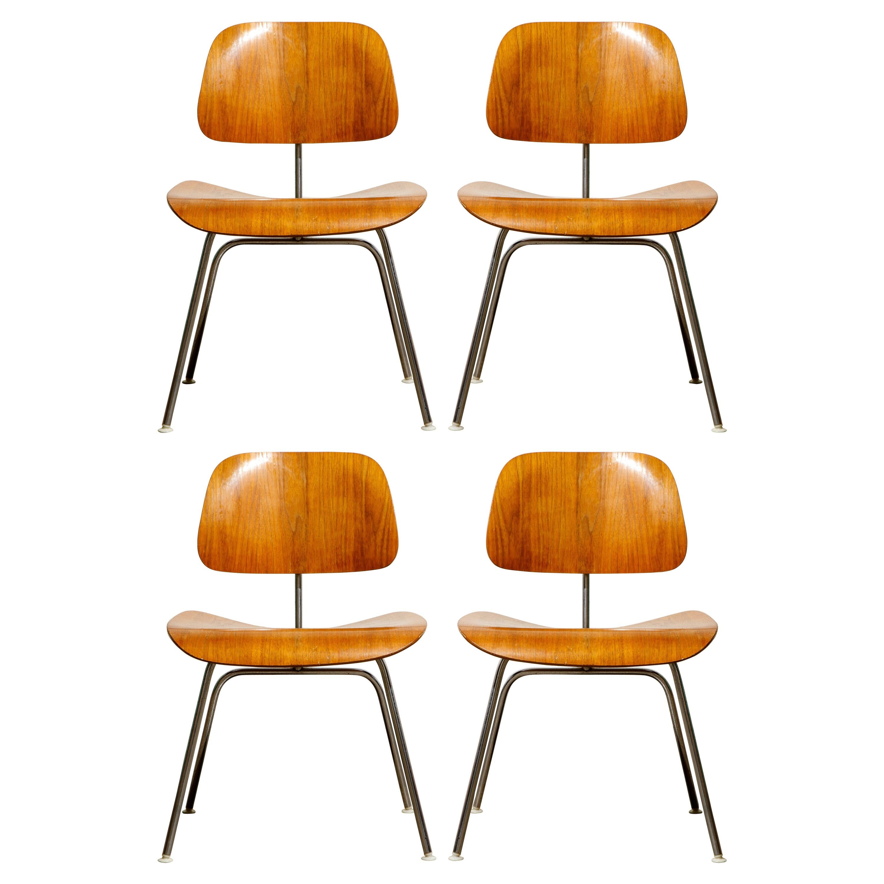 1950s Early Production 'DCM' Chairs by Charles Eames for Herman Miller, Signed