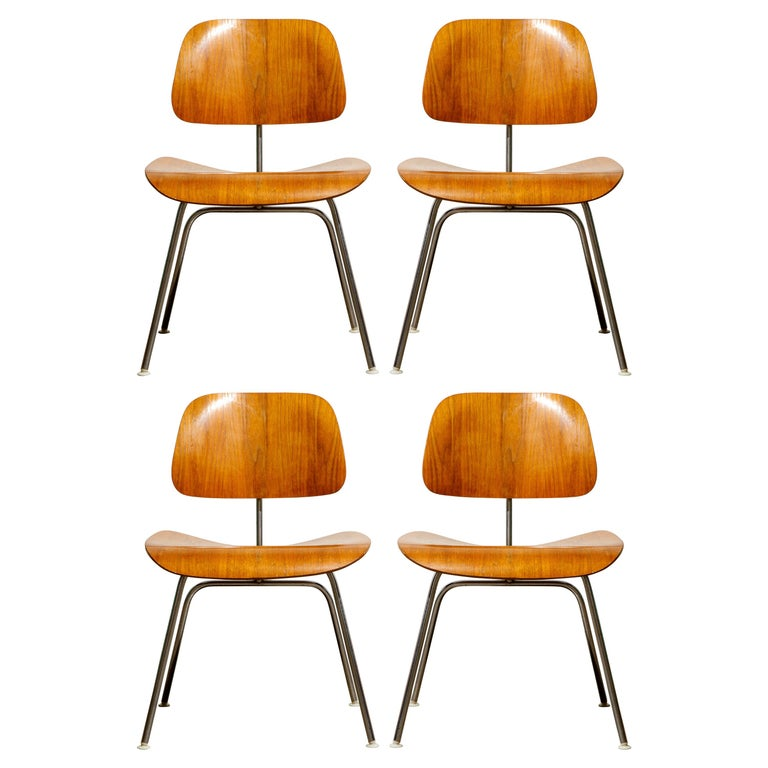 1950s Early Production 'DCM' Chairs by Charles Eames for Herman Miller, Signed  For Sale