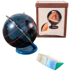 1950s Earth Core Rotating Teaching Globe, Original Box