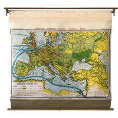 1950s Economic European Pull Down School Map