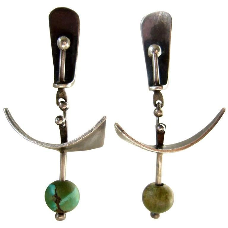 Bead 1950s Ed Wiener Turquoise Sterling Silver Abstract Modernist Earrings For Sale