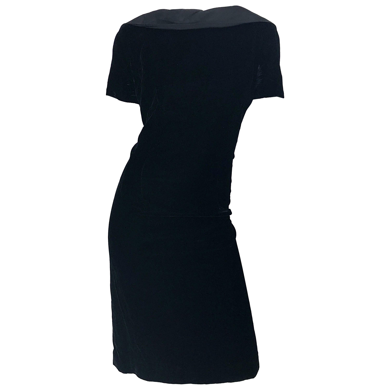 1950s Edith Flagg Large Size Black Silk Velvet Vintage 50s Wiggle Dress