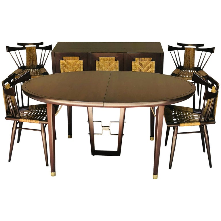 Edmond Spence Six Piece Mahogany Dinning Set for Industria Mueblera, S.A. 1950s  For Sale