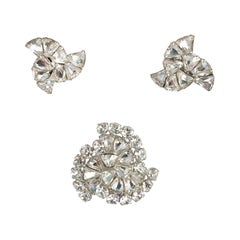 1950s Eisenberg Rhinestone Brooch and Earring Set