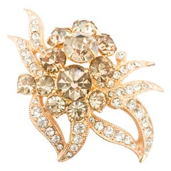 1950s Eisenberg Rhinestone Brooch with Gold Wash
