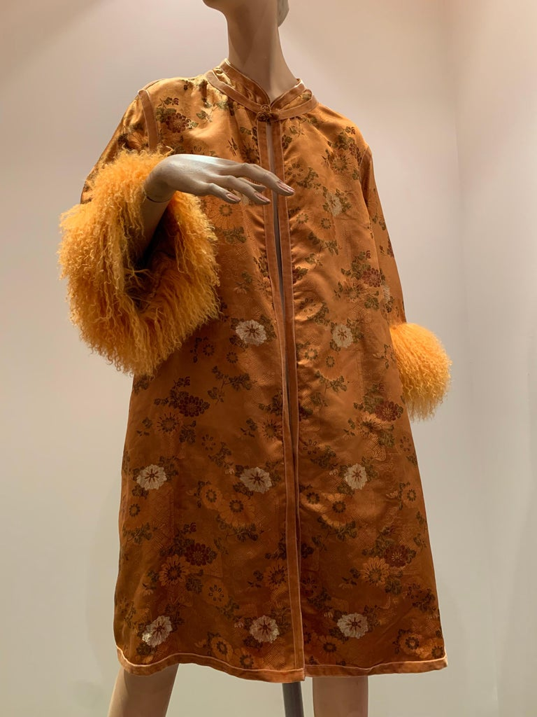 1950s Eleanora Garnett Asian-Inspired Silk Brocade Opera Coat W/ Mongolian Cuffs For Sale 7