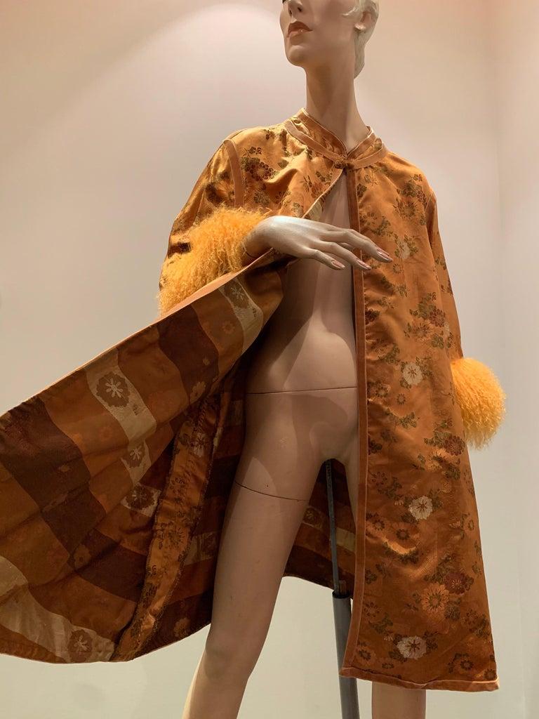1950s Eleanora Garnett Asian-Inspired Silk Brocade Opera Coat W/ Mongolian Cuffs For Sale 8