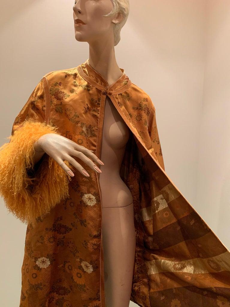 1950s Eleanora Garnett Asian-Inspired Silk Brocade Opera Coat W/ Mongolian Cuffs For Sale 10