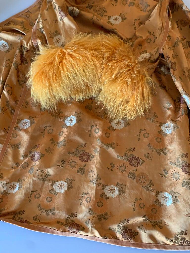 1950s Eleanora Garnett Asian-Inspired Silk Brocade Opera Coat W/ Mongolian Cuffs For Sale 14
