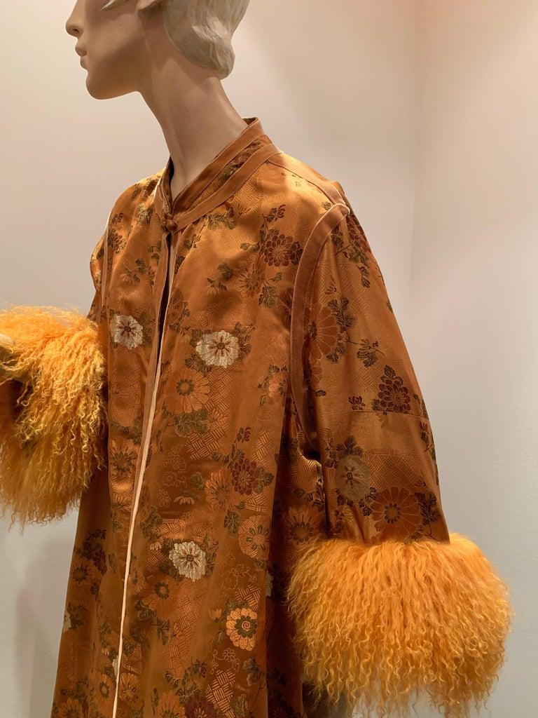 1950s Eleanora Garnett Asian-Inspired Silk Brocade Opera Coat W/ Mongolian Cuffs In Excellent Condition For Sale In San Francisco, CA