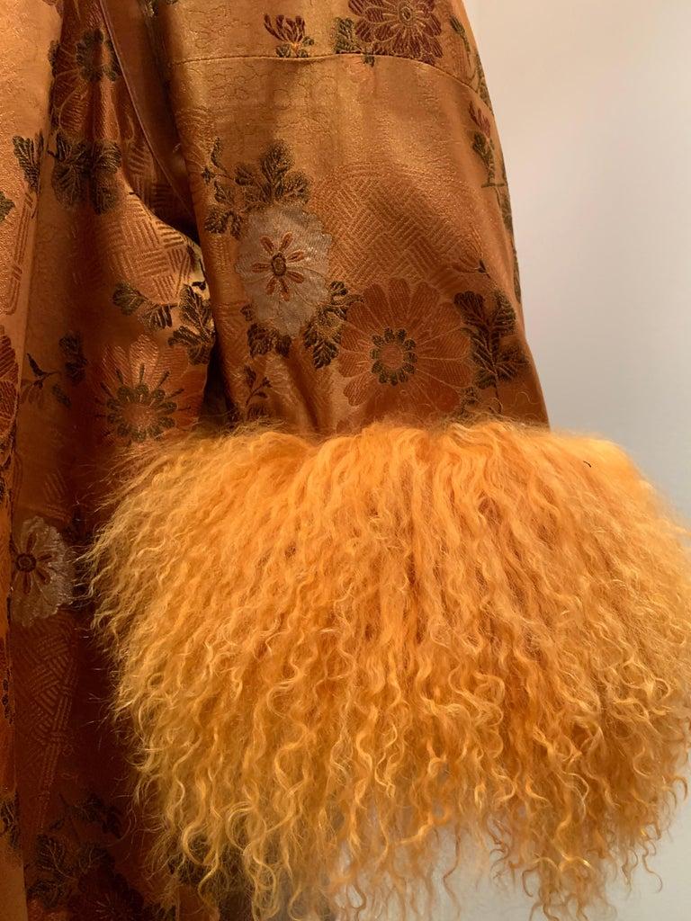 Women's 1950s Eleanora Garnett Asian-Inspired Silk Brocade Opera Coat W/ Mongolian Cuffs For Sale