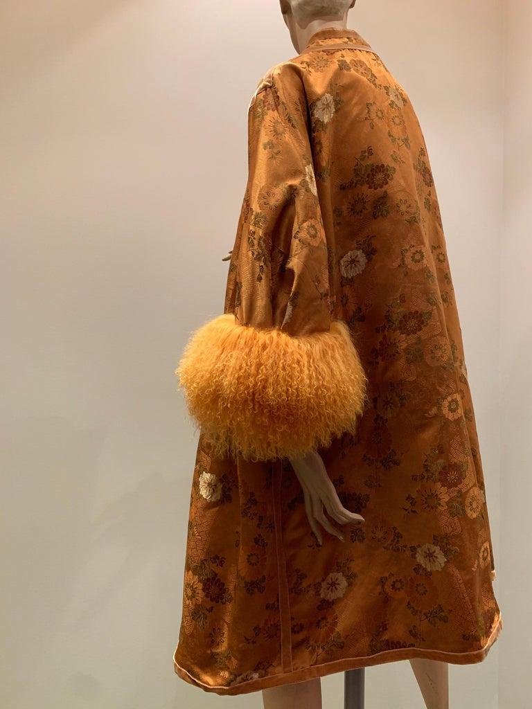 1950s Eleanora Garnett Asian-Inspired Silk Brocade Opera Coat W/ Mongolian Cuffs For Sale 2
