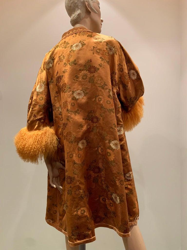 1950s Eleanora Garnett Asian-Inspired Silk Brocade Opera Coat W/ Mongolian Cuffs For Sale 3