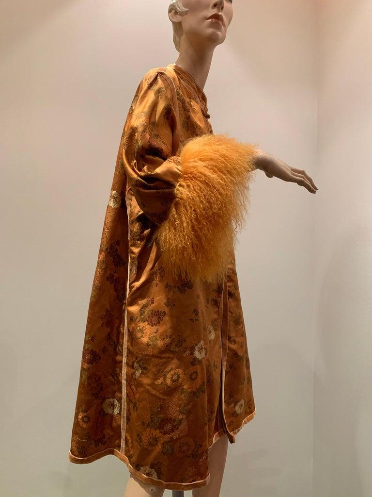 1950s Eleanora Garnett Asian-Inspired Silk Brocade Opera Coat W/ Mongolian Cuffs For Sale 4