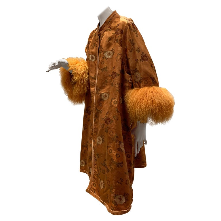 1950s Eleanora Garnett Asian-Inspired Silk Brocade Opera Coat W/ Mongolian Cuffs For Sale