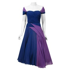 1950's Eleanora Garnett Italian Couture Blue Purple Pleated Chiffon Party Dress