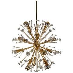 1950s Elegant gilt Starburst Sputnik Snowflake Chandelier from Emil Stejnar