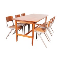 1950s Elegant Rectangular Dining Table with Tapered Turned Leg Detail