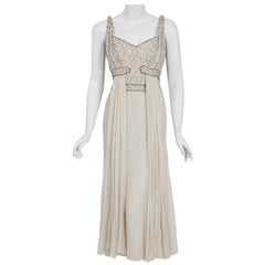 1950's Elizabeth Arden Couture Beaded Ivory Silk Chiffon Draped Goddess Dress