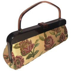 1950s Elongated Cut Velvet Floral Hand Bag