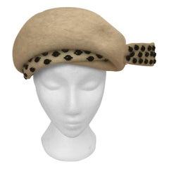 1950s Elsa Schiaparelli Fur Felt Hat